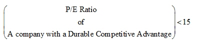 P/E Ratio of a Company with a Durable Competitive Advantage